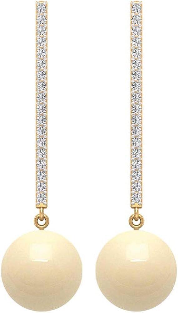8 CT Japanese Cultured Pearl Drop Earrings, Statement Pearl Earrings with Diamond Bail, Gold Drop Earrings, Screw back