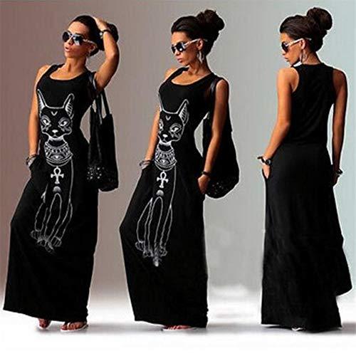 NVDKHXG Vrouwen lange maxi-jurk Mode Cat Print Bodycon-jurk Elegante avondfeestjurken Tuniek Vestidos Largos Plus-maat