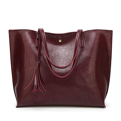 Bolso de mano de cuero con asa superior para mujer con asa superior para llevar un revistero tamaño A4 para hacer compras o citas, bolsos y bolsos para mujer, piel sintética, rojo oscuro, Tamaño libre