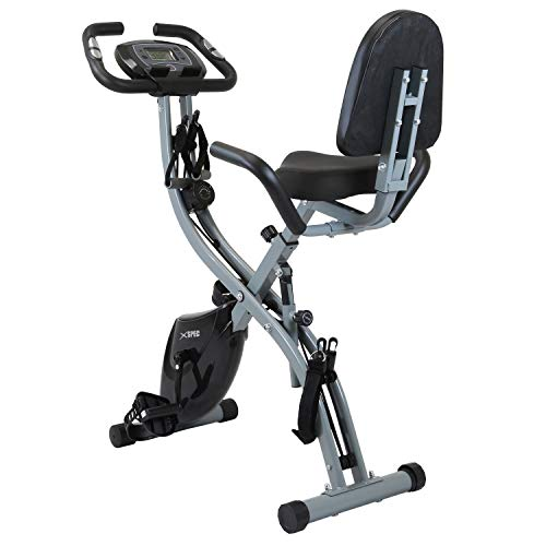 Xspec Recumbent Upright Indoor Cycling Foldable Stationary Exercise Bike with Resistance Bands, 16-Level Magnetic Resistance, LCD Display, Phone/Tablet Holder, Black