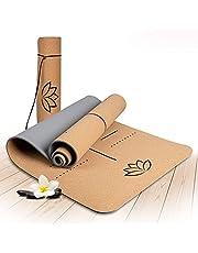 Wellax Mata do jogi korkowa – 100% naturalna mata do jogi, antypoślizgowa [183 x 61 x 0,6 cm] – wyjątkowo gruba i nie zawiera substancji szkodliwych – mata sportowa z paskiem do noszenia