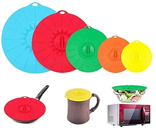 Voarge Coperchi in silicone, per pentole, padelle, tazze e microonde, con effetto ventosa, coperchio a vuoto per la cucina, set da 5 pezzi