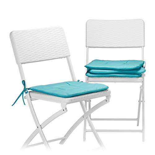 Relaxdays Stuhlkissen 4er Set in Türkis, Sitzkissen mit Schleife, Auflage für Stühle in Haus und Garten, waschbar, Stuhlauflage aus Polyester, blau