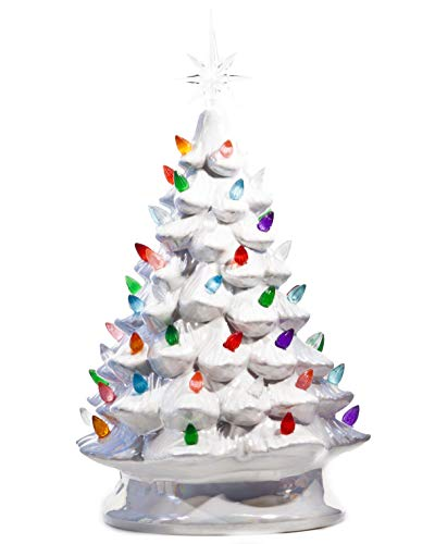 ReLIVE Christmas is Forever Lighted Tabletop Ceramic Tree - 14.5' Pearlized White Tree with Multi Color Lights