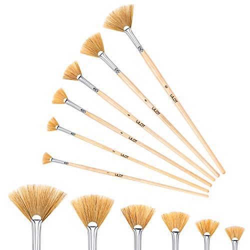 Lenbicki 6 Stück Fächerpinsel-Set Borstenpinsel Künstlerpinsel Professioneller Pinsel für Ölaquarelle der Größe: 2, 4, 6, 8, 10, 12