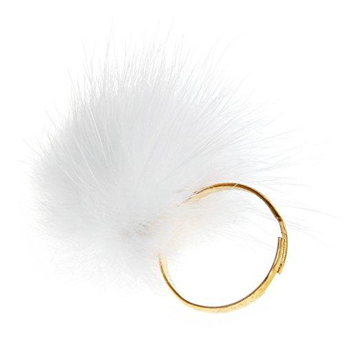 niumanery Accesorios de joyería de moda redimensionable esponjoso pompón bola anillo para...