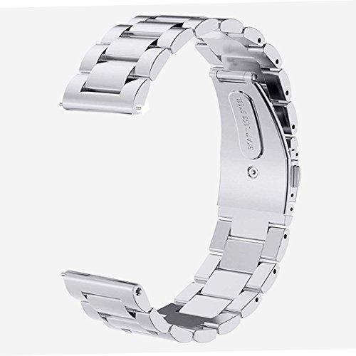 V-MORO Ersatz Armband für Gear S3 Frontier Classic,Galaxy Watch 46mm Armband (Metall Silber) Solider Edelstahl Metall Ersatz Band Uhrenarmband für Samsung Gear S3 Frontier Classic Armband