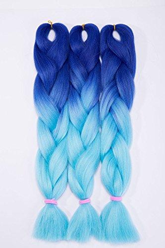 Extension clip capelli veri Hair Extensions Braiding Hair Jumbo Braids Ombre Pezzo di Capelli 3 Piece/ 300g - Da blu scuro a blu chiaro