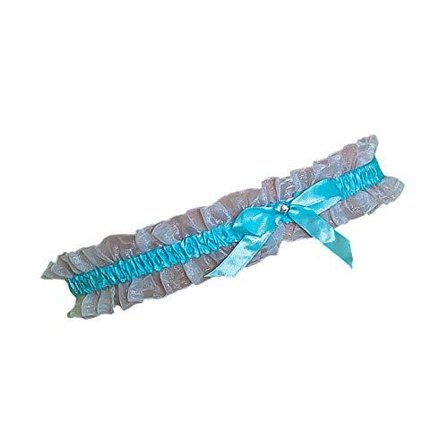 Oblique-Unique® Blau - Weisses Strumpfband mit Schleife und runden Strassstein für Hochzeit