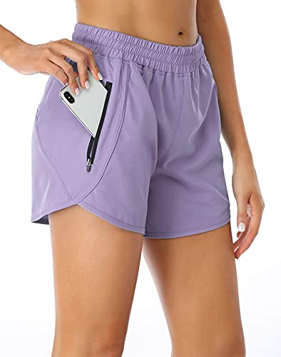 Oyamiki Women's Athletic Shorts Active Quick-Dry Running Workout Shorts with Liner S Lavender