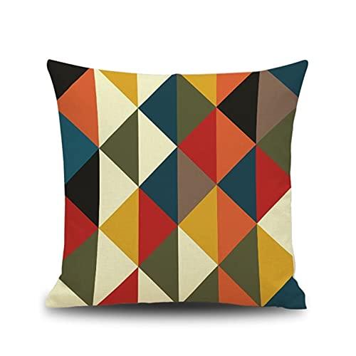 KnBoB Funda Almohada Rombo Geométrico Cuadrado Muti Color Funda de Almohada de Lino 40x40 cm - Estilo 2