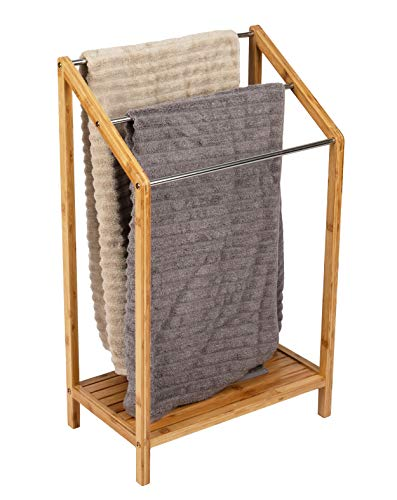 Mind Reader 3-Tier Freestanding Bamboo Drying Rack, 19.96 L x 12.05 W x 33.07 H, Brown