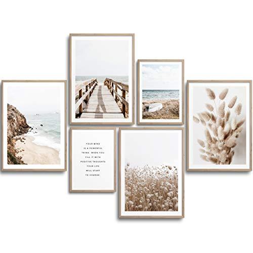 MONOKO® Moderne Poster Set - Bilder Wohnzimmer Deko Schlafzimmer - Stilvolle Wandbilder - 6er Set ohne Rahmen (Set Beige, Pampasgras, Meer, 4X A4 | 2X A5)