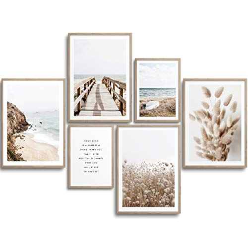 MONOKO® Premium Poster Wohnzimmer Bilder Set 6 Motive als stilvolle Wanddeko (Set Beige, Pampasgras, Meer, 4X A4 | 2X A5)
