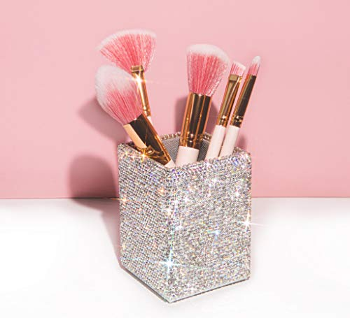 Bling Bling Spark Crystal Pen Holder Stand Cup Box Organizer for Desk Office and Home Desk Receive a case (Squared White Crystal)