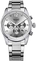 Megir Watch for Men, stainless steel Band, Chronograph, M-3006-15
