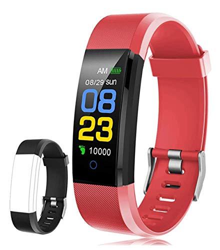 F-FISH Fitness Tracker, Activity Tracker Watch con Monitor de Ritmo cardíaco, Banda Inteligente con Monitor de presión Arterial, Monitor de sueño, podómetro para niños, Mujeres y Hombres (Rojo)