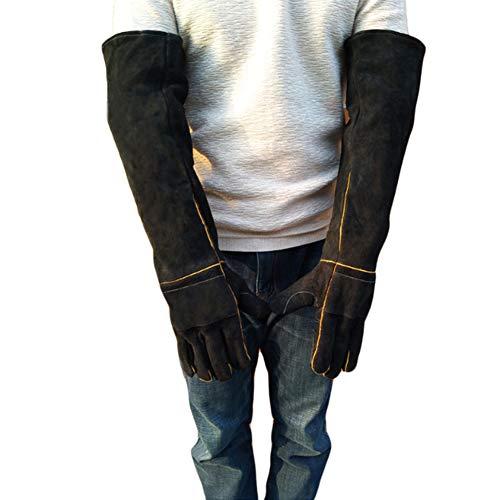 DYWOZDP Tier Handhabung Handschuhe, Handhabung Tier Anti-bite, Stärkung Leder Anti-Bissschutz Handschuhe Haustier-Proof Hund beißt Schlange Anti-beißende Eidechse,Schwarz