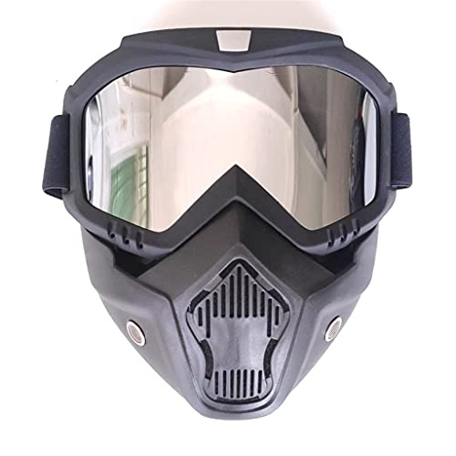 PVDR Máscara De Snowboard para Esquí Al Aire Libre, Gafas De Esquí para Motos De Nieve, Gafas Protectoras De Motocross A Prueba De Viento, Gafas De Seguridad con Filtro Bucal (Color : D)