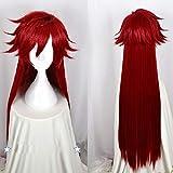 Junww Kuroshitsuji Black Butler Grell Sutcliff Wig Red Long Straight Heat Resistant Hair Cosplay Costume Wigs + Wig Cap
