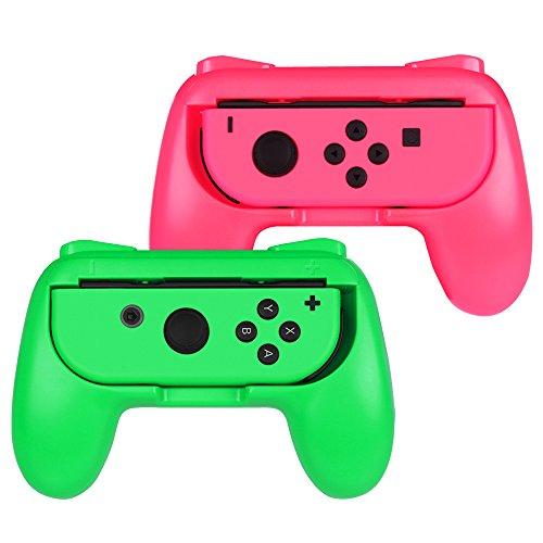 Fintie Grip for Nintendo Switch Joy-Con, [Ergonomic Design] Wear-Resistant Comfort Game Controller Handle Kit for Nintendo Switch Joy Con (2-Pack), Pink Green