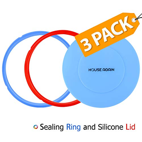 Silicone Ring and Silicone Lid for Pressure Cooker, Lid Cover Fit Snugly for 6 Quart - 2 Pack Rings Sweet and Savoury (Red/Blue) Edition Rings Easy Clean for Pressure Cooker Replacement