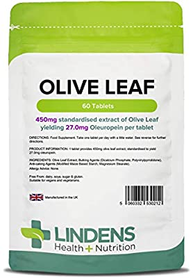 Lindens Olive Leaf Extract Tablets - 60 Pack - 450mg Standardised Extract Yielding 27mg Oleuropein Per Tablet - UK Manufacturer, Letterbox Friendly