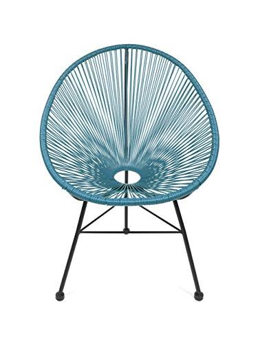 Retro Acapulco Lounge Relax Sessel Chair Indoor & Outdoor Rahmen & Füße Pulverbeschichtet Farbe Petrol BLAU