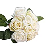 UEVOS Artificielle Fausse Élégante Fleur Romantique éternelle Soie Fleurs Feuille Rose Mariage Bouquet De Décor Floral(1* Bouquet 9 Têtes )