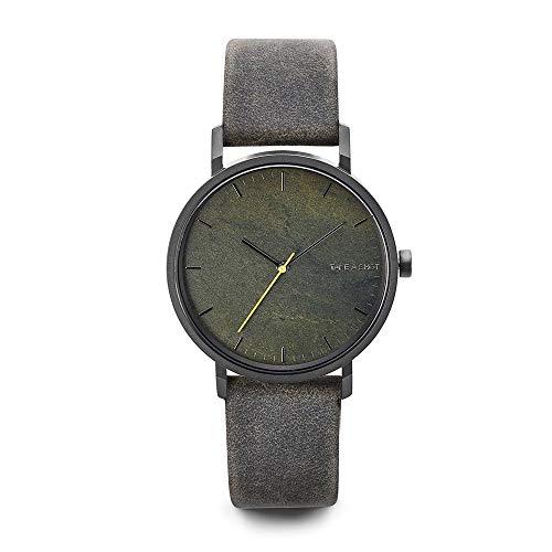 TAKE A SHOT - Steinuhr mit Zifferblatt aus Stein, echtes graues Lederarmband, Ø 40 mm analoge Armbanduhr mit Gehäuse aus Edelstahl - Robinson