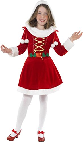 SMIFFYS Childrens Christmas Fancy Dress outfit Girls Little Miss Santa costume rosso