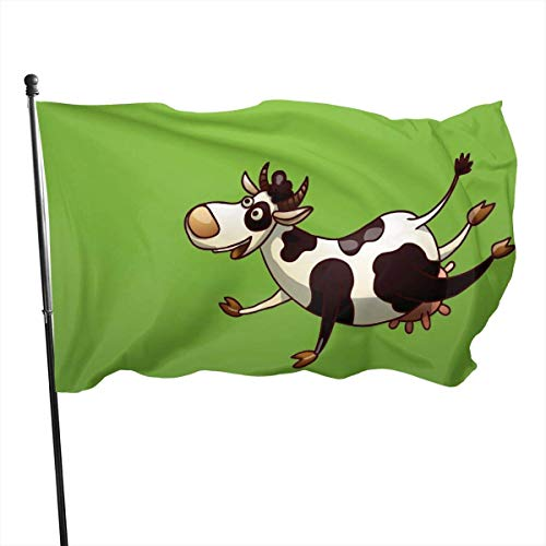 WH-CLA Fahne Kühe Lustige Garten Fahnen Bunte Lebendige Yard Flagge Standard Outdoor-Druck Willkommen 150X90Cm Urlaub Yard Banner