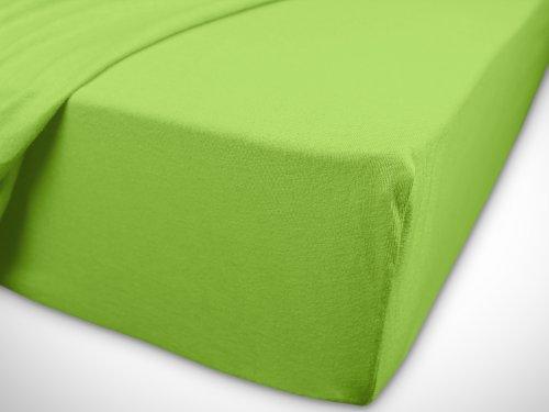 npluseins klassisches Jersey Spannbetttuch – erhältlich in 34 modernen Farben und 6 verschiedenen Größen – 100% Baumwolle, 70 x 140 cm, apfelgrün - 7
