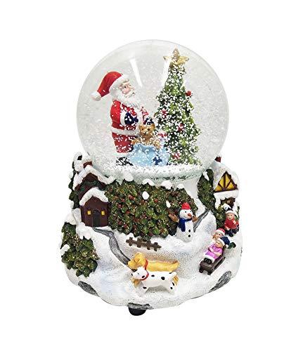 Wichtelstube-Kollektion XL LED Schneekugel Weihnachten elektrischer Schneewirbel, viele Melodien und Farbwechsel Glitzerkugel Weihnachtsdorf