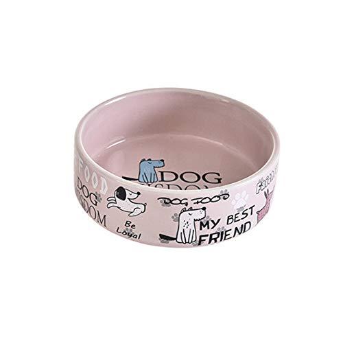 Liyananha Pet Supplies Englisch mit Cartoon-Muster Keramik Pet Bowl personalisierte Pet Bowl Futternapf für kleine Keramik Keramikplatte platziert, zäh, Mikrowelle und Spülmaschinenfest,Pink