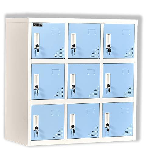 Metal Locker Office Storage Locker Home Steel Locker School Storage Organizer, Storage Cabinet for Kids Students Employee (Blue, W9D)
