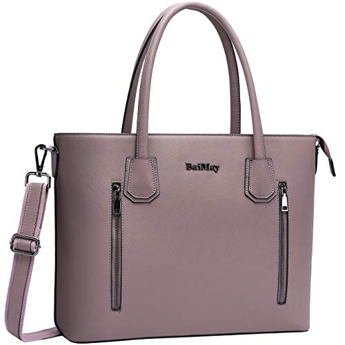 Laptop Bag for Women,15-15.6 Inch Work Tote Bag Laptop Shoulder Bag with Padded Pocket Business Handbag Multi-pockets Computer Purse for Everyday Carrying-purple