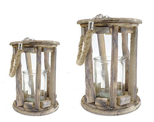 DARO DEKO Holz-Laterne mit Kerzenglas und Seil-Griff 2er Set - S und L