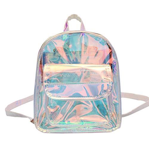TENDYCOCO Hologramm Rucksack für Mädchen transparent PVC für Konzert Sicherheit Reise Stadion Sportereignis Hologramm Schultasche für Frauen Damen Student Mädchen