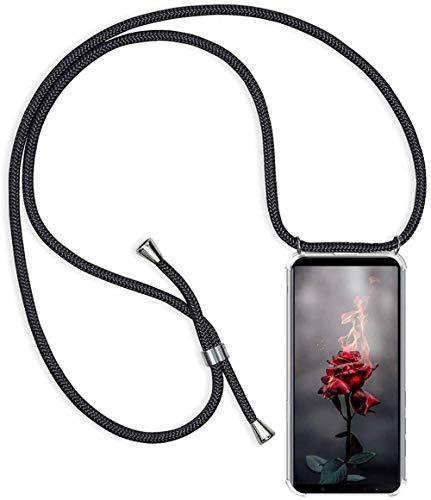 Handykette Handyhülle kompatibel mit Huawei P Smart 2019 / Honor 10 Lite Hülle, Smartphone Necklace Hülle mit Band - Transparent Schutzhülle Stossfest - Schnur mit Case zum Umhängen in Schwarz