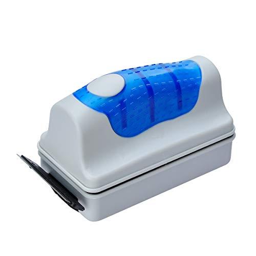Cepillo limpiador magnético de cristal para acuario de pecera Covvy – Cepillo limpiador flotante para limpieza de algas acuáticas, con 2 raspadores, azul, Small
