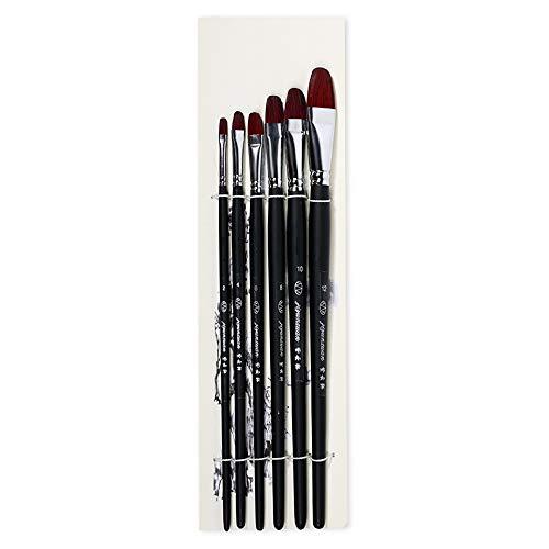 Malerpinsel-Set, Acryl, Öl, Aquarell, Künstler, Studenten, langer Griff, Filbertpinsel, Maler-Set, 6 Stück Schwarz