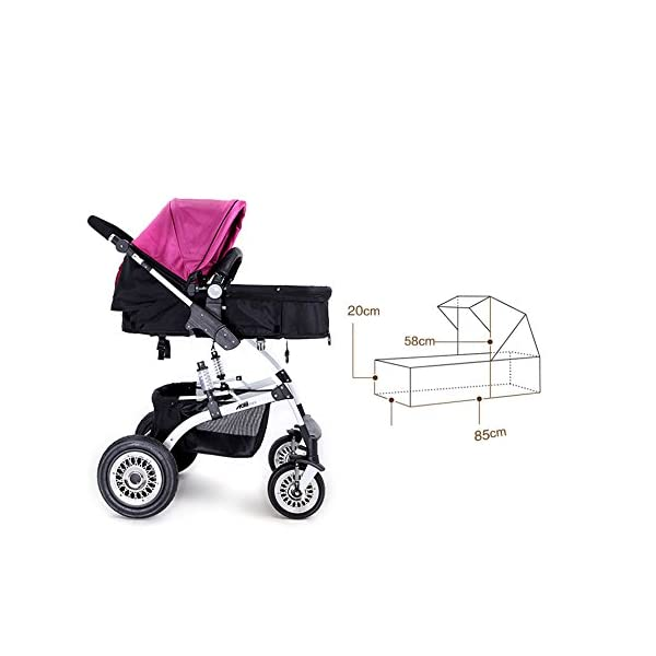 JXCC Travel Systems Baby Trolley Child Baby Stroller Can Sit Can Lie Down Two-way Fold Four Rounds High Landscape Baby Children Strollers Travel Stroller -Safe And Stylish multicolor-2 JXCC Backrest adjustment allows baby to sit, lie down, sleep and feel truly comfortable Easy to handle with lockable and swivelling front wheels The large storage basket underneath is ideal for holding purses, groceries, and diaper bags 2