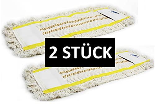 Gizmop 2 Stück 50 cm (Gelb Gestreift) Wischmop aus 100% Baumwolle Wischmopp - Parkett Baumwollmopp - Wischbezug zur Echtholz trocken und nass Bodenpflege - Bodenwischer für Parkett Dielen Laminat
