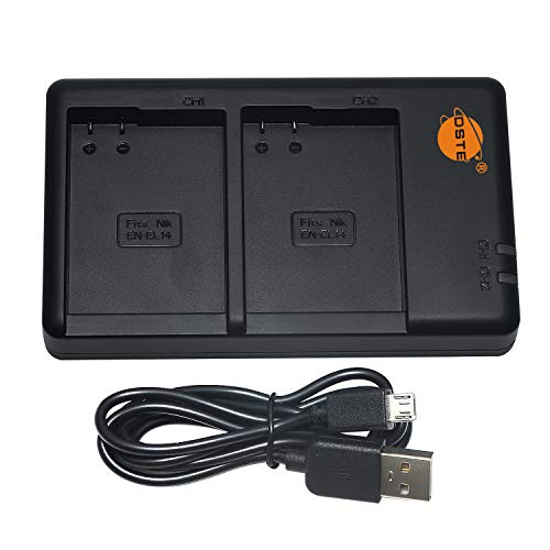 DSTE MH-24 Batteria USB Dual Quick Caricatore Compatibile per EN-EL14,EN-EL14a,Nikon Coolpix P7000, Coolpix P7100, Coolpix P7700, Df, D3400, D3500, D5100, D5200, D5300