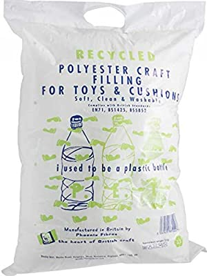 Recycled soft Toy Filling Plush stuffing for knitted toys, Cushions and Pillow filler, art and crafts. Made in the UK from Recycled Plastic Bottles. 250g by PhoenixFibers