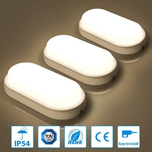 3er Oeegoo LED Deckenleuchte Badlampe, 12W 960lm Flimmerfrei Deckenlampe, IP54 Wasserfest Feuchtraumleuchte für Keller, Diele, Badezimmer, Wand, Wohnzimmer Neutralweiß 4000K-4500K