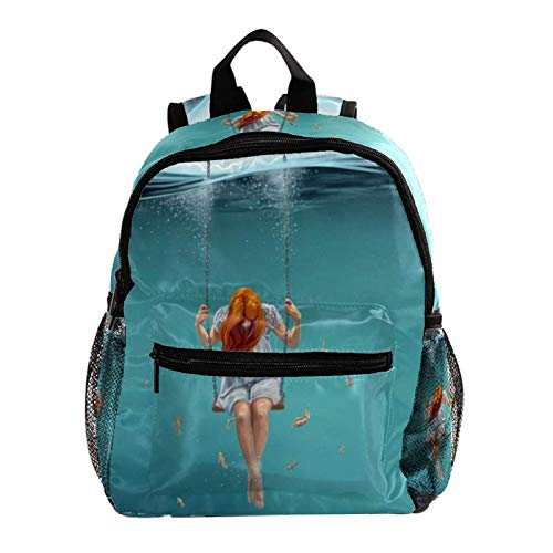 Mochila Escolar Columpio De Chica Animé Mochila para Niños 3-8 Años Infantil Guarderia Backpack 25.4x10x30 CM