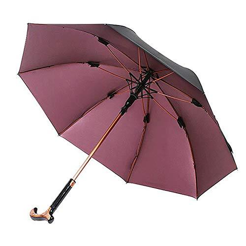 SCARVT Sombrilla para Bastón, Diseño 2 en 1, Sombrilla de Doble Uso para el Sol/Lluvia, Peso Ligero, Resistente al Viento, Marco Resistente, Mejor Bastón para Ancianos