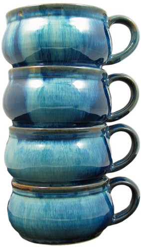 Set Of (4) Four - PRADO STONEWARE COLLECTION - Stacking/Stackable Soup, Chili, Stews Cups/Mugs/Bowls - Royal Blue
